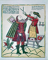 D969FW Peter I, the Great (1672-1725) Tsar of Russia from 1682 cutting a Boyar's beard. Peter was eager to westernise his subjects
