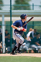 GCL Braves first baseman Justin Morhardt (91) grounds out during a game against the GCL Pirates on July 26, 2017 at Pirate City in Bradenton, Florida.  GCL Braves defeated the GCL Pirates 12-5.  (Mike Janes/Four Seam Images)