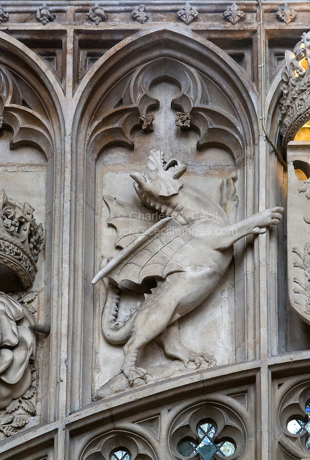 UK, England, Cambridge.  King's College Chapel, Welsh Dragon Cadwallader, representing the lineage of Henry VII, whose father was Welsh.