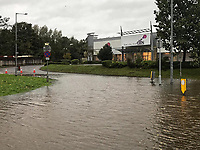 Pictured: The flooded A4067 road in the Morriston area of Swansea south Wales, UK. Saturday 13 October 2018<br /> Re: Flooding caused by Storm Callum in Swansea, south Wales, UK.