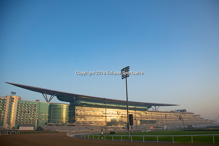 DUBAI,UNITED ARAB EMIRATES-MARCH 29: The stand is reflected by sunrise light at Meydan Racecourse on March 29,2018 in Dubai,United Arab Emirates (Photo by Kaz Ishida/Eclipse Sportswire/Getty Images)