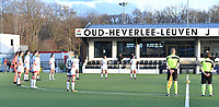 team of OHL pictured during a minute of silence ahead of a female soccer game between Oud Heverlee Leuven and SV Zulte-Waregem on the 16 th matchday of the 2020 - 2021 season of Belgian Womens Super League , sunday 14 th of March 2021  in Heverlee , Belgium . PHOTO SPORTPIX.BE | SPP | DAVID CATRY