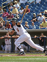 August 17, 2003:  Javi Herrera of the Lake County Captains, Class-A affiliate of the Cleveland Indians, during a South Atlantic League game at Classic Park in Eastlake, OH.  Photo by:  Mike Janes/Four Seam Images