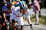 White Jersey Tadej Pogacar (SLO) UAE Team Emirates in the peloton during Stage 6 of Tour de France 2020, running 191km from Le Teil to Mont Aigoual, France. 3rd September 2020.<br /> Picture: ASO/Pauline Ballet   Cyclefile<br /> All photos usage must carry mandatory copyright credit (© Cyclefile   ASO/Pauline Ballet)