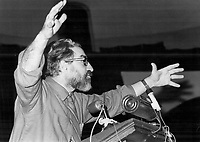 1971 FILE PHOTO - ARCHIVES -<br /> <br /> Quebec labor leader Michel Chartrand tells a meeting of more than 500 persons in Toronto last night that the federal government went over the heads of the courts when it used the War Measures Act declare the Front de Liberation du Quebec an illegal organization.<br /> <br /> PHOTO : Reg INNELL - Toronto Star Archives - AQP