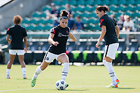 CARY, NC - SEPTEMBER 12: Sophia Smith #9 of the Portland Thorns warms up before a game between Portland Thorns FC and North Carolina Courage at WakeMed Soccer Park on September 12, 2021 in Cary, North Carolina.