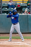 Rancho Cucamonga Quakes right fielder Carlos Rincon (16) during a California League game against the Visalia Rawhide on April 8, 2019 in Visalia, California. Rancho Cucamonga defeated Visalia 4-1. (Zachary Lucy/Four Seam Images)