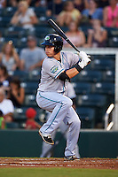 Daytona Tortugas catcher Julio Morillo (3) at bat during a game against the Fort Myers Miracle on June 17, 2015 at Hammond Stadium in Fort Myers, Florida.  Fort Myers defeated Daytona 9-5.  (Mike Janes/Four Seam Images)