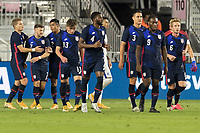 FORT LAUDERDALE, FL - DECEMBER 09: The USMNT celebrate a United States goal during a game between El Salvador and USMNT at Inter Miami CF Stadium on December 09, 2020 in Fort Lauderdale, Florida.