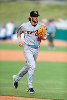 Rocket City Trash Pandas shortstop Gavin Cecchini (6) jogs to the dugout during the game against the Tennessee Smokies at Smokies Stadium on July 2, 2021, in Kodak, Tennessee. (Danny Parker/Four Seam Images)
