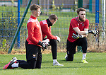 St Johnstone Training….06.10.20     <br />Zander Clark pictured with fellow keepers Elliott Parish and Jack Wills during training at McDiarmid Park this morning ahead of tomorrow nights Betfred Cup game against Kelty Hearts.<br />Picture by Graeme Hart.<br />Copyright Perthshire Picture Agency<br />Tel: 01738 623350  Mobile: 07990 594431