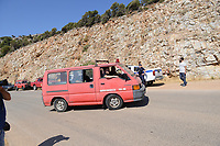 Pictured: Emergency services at the scene in Ikaria, Greece. Thursday 08 August 2019<br /> Re: Rescuers searching for  British scientist Natalie Christopher, 35, who disappeared on the  island of Ikaria, Greece have found her body at the bottom of a ravine.<br /> She was found less than a mile from the hotel in the Kerame area where she was on holiday with her Cypriot partner.<br /> Emergency service staff said that a large rock had dislodged as she fell, causing multiple head injuries.<br /> The woman's body will be kept overnight at the spot so a coroner can examine it on Thursday morning.