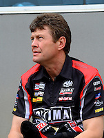 Apr. 15, 2012; Concord, NC, USA: NHRA top fuel dragster driver David Grubnic during eliminations for the Four Wide Nationals at zMax Dragway. Mandatory Credit: Mark J. Rebilas-