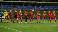 Woluwe players pictured during the line up before a female soccer game between FC Femina White Star Woluwe and Eendracht Aalst on the sixth matchday of the 2020 - 2021 season of Belgian Scooore Womens Super League , friday 6 th of November 2020  in Woluwe , Belgium . PHOTO SPORTPIX.BE | SPP | SEVIL OKTEM