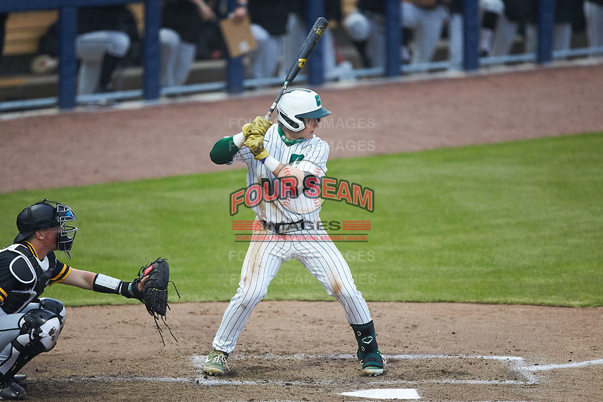 Craig Keuchel (9) of the Charlotte 49ers at bat against the Appalachian State Mountaineers at Atrium Health Ballpark on March 23, 2021 in Kannapolis, North Carolina. (Brian Westerholt/Four Seam Images)