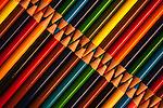 Pencils, Multicolored Pencils in Rows