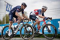Jasper Stuyven (BEL/Trek-Segafredo) & Gianni Vermeersch (BEL/Alpecin-Fenix) up the final Paterberg climb<br /> <br /> 105th Ronde van Vlaanderen 2021 (MEN1.UWT)<br /> <br /> 1 day race from Antwerp to Oudenaarde (BEL/264km) <br /> <br /> ©kramon