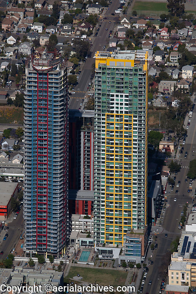 aerial photograph of the Pinnacle at the Park residential towers, San Diego, California