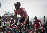 Jelle Vanendert (BEL/Lotto-Soudal) up the infamous Mur de Huy while having an energy gel ready for a boost later on<br /> <br /> 81st La Flèche Wallonne (1.UWT)<br /> One Day Race: Binche › Huy (200.5km)