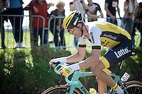 Maarten Wynants (BEL/LottoNL-Jumbo) puffing his way up the infamous Koppenberg<br /> <br /> 100th Ronde van Vlaanderen 2016