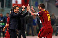 Roma s Daniele De Rossi, right, celebrates with coach Eusebio Di Francesco after his teammate Diego Perotti, not seen, scored during the Champions League Group C soccer match between Roma and Chelsea at Rome's Olympic stadium, October 31, 2017.<br /> UPDATE IMAGES PRESS/Riccardo De Luca
