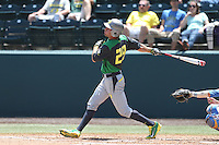 Steven Packard #29 of the Oregon Ducks bats against the UCLA Bruins at Jackie Robinson Stadium on May 18, 2014 in Los Angeles, California. Oregon defeated UCLA, 5-4. (Larry Goren/Four Seam Images)