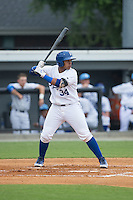Xavier Fernandez (34) of the Burlington Royals at bat against the Bluefield Blue Jays at Burlington Athletic Park on July 1, 2015 in Burlington, North Carolina.  The Royals defeated the Blue Jays 5-4. (Brian Westerholt/Four Seam Images)