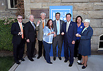 Dignitaries pose with their medallions from the fourth and final in a commemorative Sesquicentennial series at the Nevada State Museum, in Carson City, Nev., on Wednesday, Sept. 3, 2014. <br /> Photo by Cathleen Allison