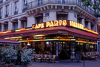 outdoor café, Paris, Ile de France, France, Europe, Café Paris Halles along Boulevard de Sebastopol in Paris in the evening.