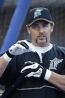 Kevin Millar of the Florida Marlins during a 2002 MLB season game against the Los Angeles Dodgers at Dodger Stadium, in Los Angeles, California. (Larry Goren/Four Seam Images)