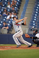 Fort Myers Miracle first baseman Trey Vavra (9) at bat during a game against the Tampa Yankees on April 12, 2017 at George M. Steinbrenner Field in Tampa, Florida.  Tampa defeated Fort Myers 3-2.  (Mike Janes/Four Seam Images)