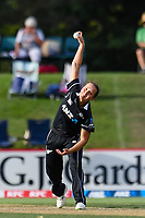 23rd February 2021, Christchurch, New Zealand;  Amelia Kerr of New Zealand bowling during the 1st ODI Cricket match, New Zealand versus England, Hagley Oval, Christchurch, New Zealand