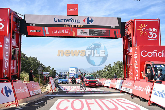 Romain Bardet (FRA) Team DSM wins Stage 14 of La Vuelta d'Espana 2021, running 165.7km from Don Benito to Pico Villuercas, Spain. 28th August 2021.     <br /> Picture: Cxcling | Cyclefile<br /> <br /> All photos usage must carry mandatory copyright credit (© Cyclefile | Cxcling)