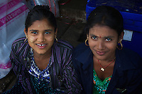 Indian Burmese Girls at Morning Market in Hpa An, Myanmar, Burma