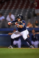 Connecticut Tigers third baseman Jose Zambrano (28) squares to bunt during the second game of a doubleheader against the Brooklyn Cyclones on September 2, 2015 at Senator Thomas J. Dodd Memorial Stadium in Norwich, Connecticut.  Connecticut defeated Brooklyn 2-1.  (Mike Janes/Four Seam Images)