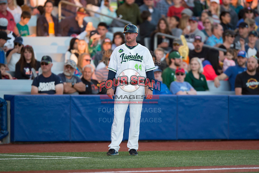 Hillsboro Hops manager Shawn Roof (44) during a Northwest League game against the Salem-Keizer Volcanoes at Ron Tonkin Field on September 1, 2018 in Hillsboro, Oregon. The Salem-Keizer Volcanoes defeated the Hillsboro Hops by a score of 3-1. (Zachary Lucy/Four Seam Images)