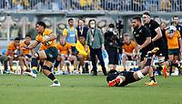 5th September 2021; Optus Stadium, Perth, Australia: Bledisloe Cup international rugby, Australia versus New Zealand; Pete Samu of the Wallabies breaks through the All Blacks defense