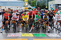 4th July 2021; Tignes, France;  Start with POGACAR Tadej (SLO) of UAE TEAM EMIRATES, CAVENDISH Mark (GBR) of DECEUNINCK - QUICK-STEP, POELS Wouter (NED) of BAHRAIN VICTORIOUS during stage 9 of the 108th edition of the 2021 Tour de France cycling race, a stage of 144,9 kms between Cluses and Tignes on July 4