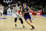 Real Madrid´s Kelvin Rivers and Anadolu Efes´s Thomas Heurtel during 2014-15 Euroleague Basketball Playoffs second match between Real Madrid and Anadolu Efes at Palacio de los Deportes stadium in Madrid, Spain. April 17, 2015. (ALTERPHOTOS/Luis Fernandez)