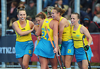 The Hockeyroos celebrate scoring a late equaliser during the Sentinel Homes Trans Tasman Series hockey match between the New Zealand Black Sticks Women and the Australian Hockeyroos at Massey University Hockey Turf in Palmerston North, New Zealand on Sunday, 30 May 2021 Photo: Dave Lintott / lintottphoto.co.nz