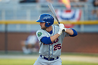 Robby Kidwell (25) of the Kingsport Mets at bat against the Burlington Royals at Burlington Athletic Stadium on July 27, 2018 in Burlington, North Carolina. The Mets defeated the Royals 8-0.  (Brian Westerholt/Four Seam Images)