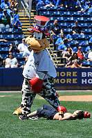 Staten Island Yankees fan has a boxing match with Yankees mascott Scooter - The Holy Cow during a game against the State College Spikes at Richmond County Bank Ballpark at St. George on July 14, 2011 in Staten Island, NY.  Staten Island defeated State College 6-4.  Tomasso DeRosa/Four Seam Images