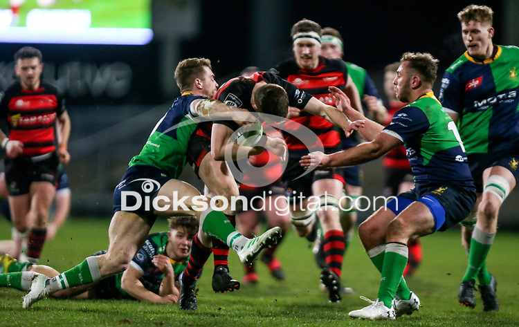 Friday 6th March 2020   Armagh RFC vs Ballynahinch RFC<br /> <br /> Shea O'Brien on the attack for Armagh is tackled by Ross Adair during the Bank Of Ireland Ulster Senior Cup Final between the City of Armagh RFC and Ballynahinch RFC at Kingspan Stadium, Ravenhill Park, Belfast, Northern Ireland. Photo by John Dickson / DICKSONDIGITAL