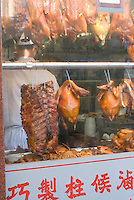 Roasted Meats Hanging in Window of a Chinese Restaurant, Chinatown, New York City, New York State, USA