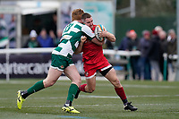 Brendan Cope of Jersey Reds (right) is tackled during the Championship Cup QF match between Ealing Trailfinders and Jersey Reds at Castle Bar, West Ealing, England  on 22 February 2020. Photo by David Horn.