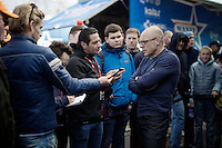 team SKY manager Sir David Brailsford (GBR) being interviewed after the team won its first ever Monument Classic (with Wout Poels)<br /> <br /> 102nd Liège-Bastogne-Liège 2016