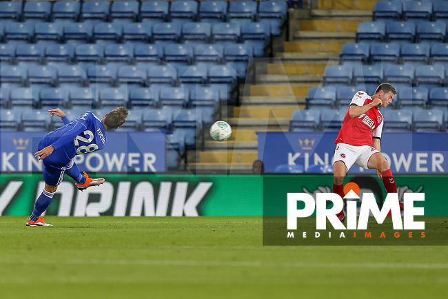 Christian Fuchs of Leicester City scores the opening goal of the game during the English League Cup Round 2 Group North match between Leicester City and Fleetwood Town at the King Power Stadium, Leicester, England on 28 August 2018. Photo by David Horn.