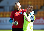 St Johnstone Training…10.05.18<br />Alan Mannus and Chris Millar pictured messing about during training before playing their final game for St Johnstone against Ross County<br />Picture by Graeme Hart.<br />Copyright Perthshire Picture Agency<br />Tel: 01738 623350  Mobile: 07990 594431