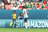 DENVER, CO - JUNE 6: Mark McKenzie #15 of the United States wins the header during a game between Mexico and USMNT at Mile High on June 6, 2021 in Denver, Colorado.