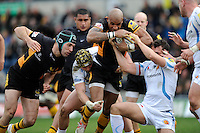 Tom Varndell of London Wasps drives forward during the Aviva Premiership match between London Wasps and Exeter Chiefs at Adams Park on Sunday 21st April 2013 (Photo by Rob Munro)